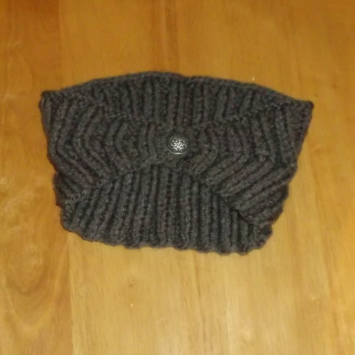 Ribbed Slate hand knitted headwear, handmade by Longhaired Jewels