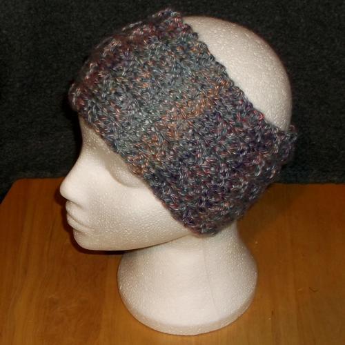 Grey multi coloured knitted headwear, handmade by Longhaired Jewels