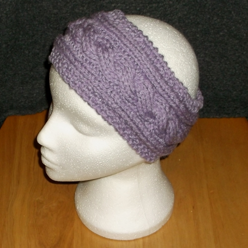 Lilac cable knit knitted headwear, handmade by Longhaired Jewels
