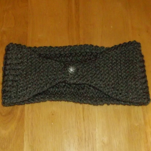 Slate hand knitted headwear, handmade by Longhaired Jewels
