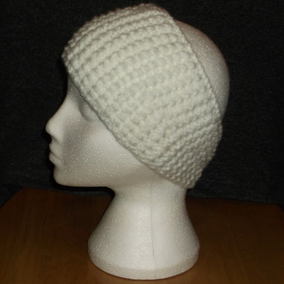 White bobbled headband handmade and sold by Longhaired Jewels