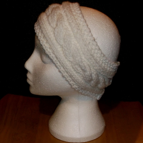 White cable knit headband handmade and sold by Longhaired Jewels