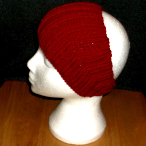 Ribbed Claret headband handmade and sold by Longhaired Jewels