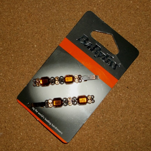 Amber Diamante Babyliss clips supplied by Longhaired Jewels